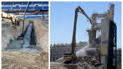 Het einde van een tijdperk: laatste zuil stadion Atlético Madrid neergehaald, ondertussen ondergaat Bernabéu metamorfose