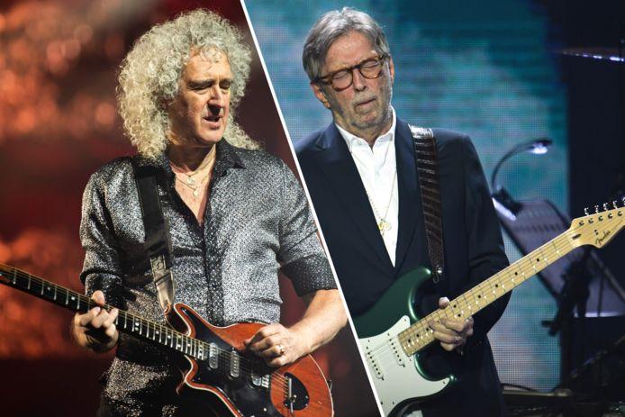 Gitaarvirtuozen Brian May (links) en Eric Clapton (rechts).