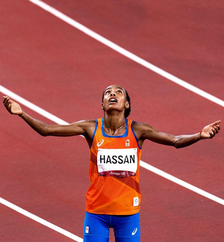 Sifan Hassan wint de 10.000 meter haar 2de gouden medaille. Beeld Klaas Jan van der Weij