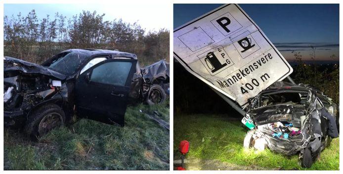 Een jonge Fransman in een Renault Twingo had geen schijn van kans toen hij verpletterd werd door een Dodge Ram in Mannekensvere (17 november 2019).