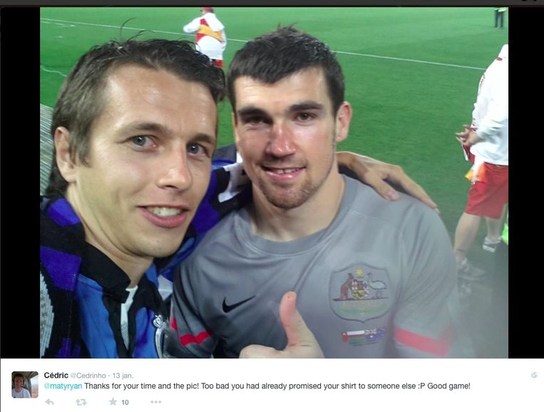 Cedric Demets zette zijn selfie op zijn Twitteraccount.