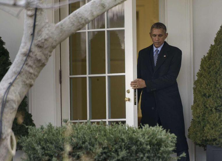Obama verlaat het Witte Huis Beeld anp