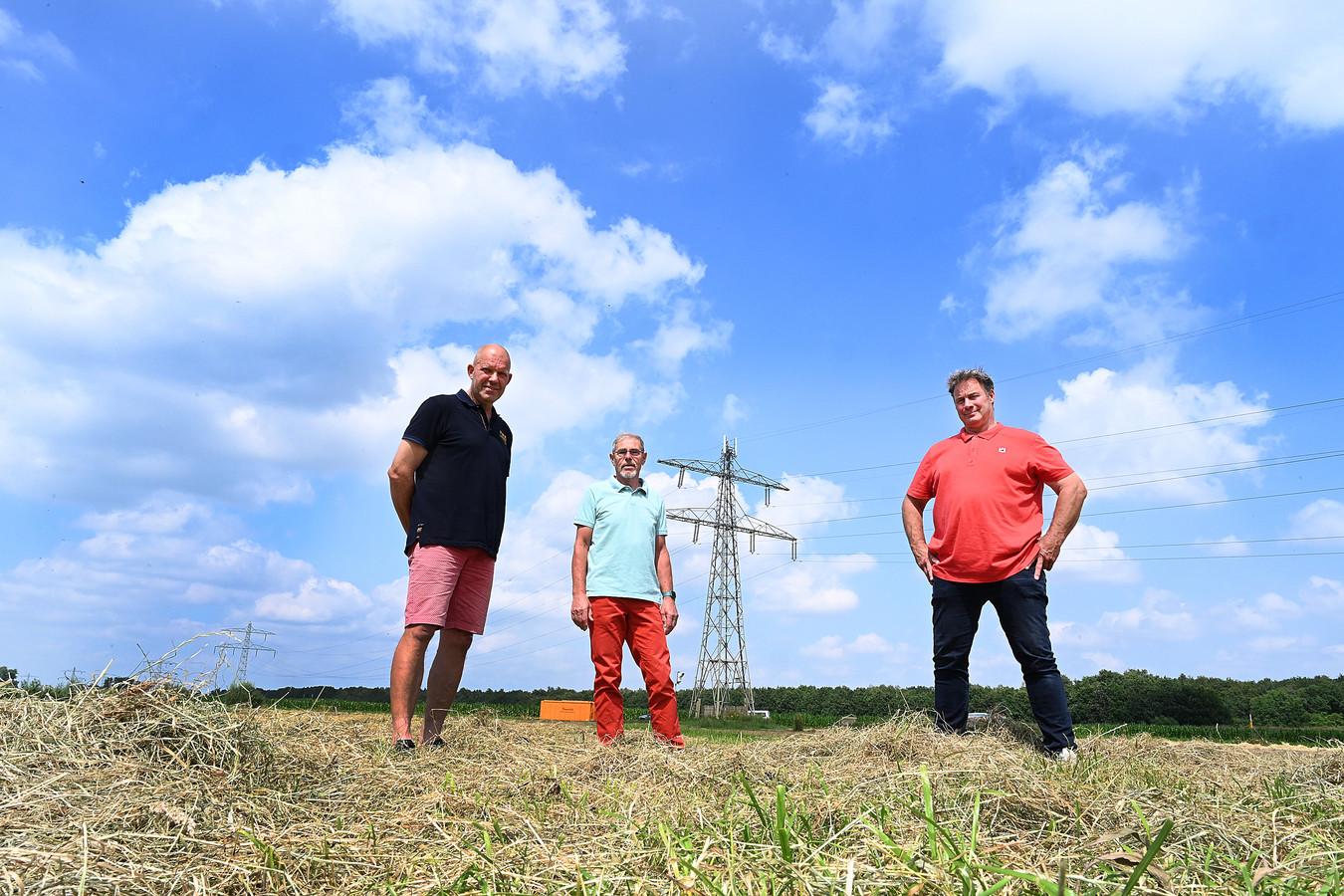 De initiatiefnemers van het windmolenplan: Jan van den Bosch, Ad Post en Frans van Kempen (v.l.n.r.)