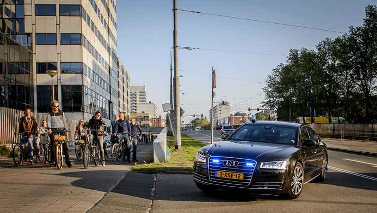 Willem Holleeder komt aan bij de rechtbank van Amsterdam Beeld anp