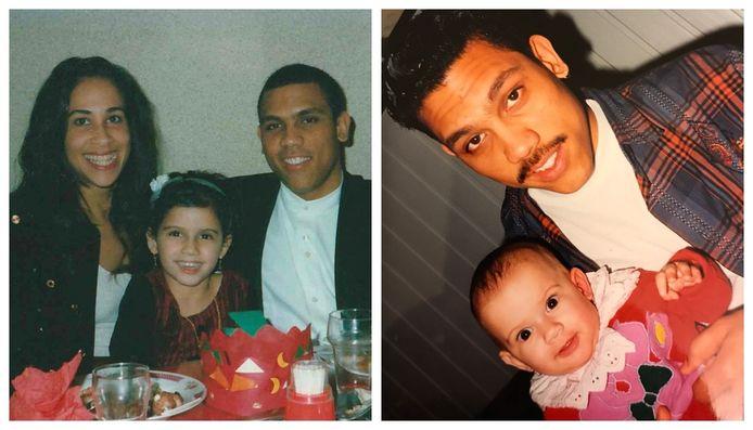 Foto 1: Giannina in het midden met haar moeder links en haar vader Angelo rechts van haar. Foto 2: Giannina met haar vader.