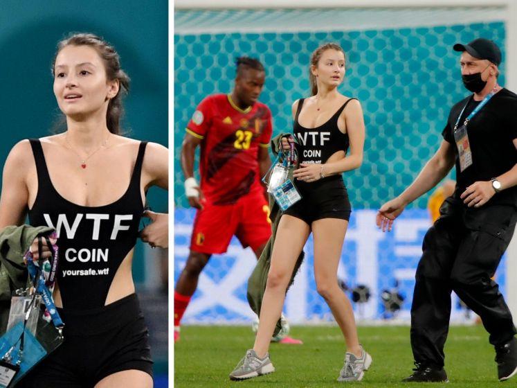 Une femme en tenue légère envahit le terrain lors du match Finlande-Belgique