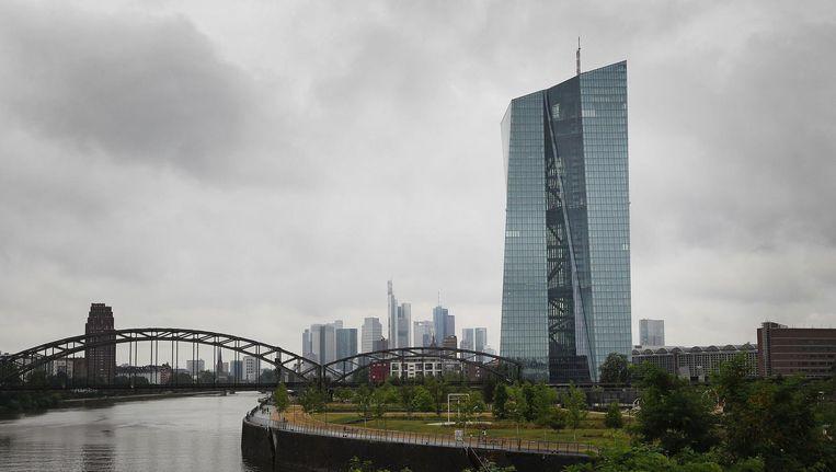 Het hoofdkwartier van de Europese Centrale Bank in Frankfurt am Main. Beeld AFP