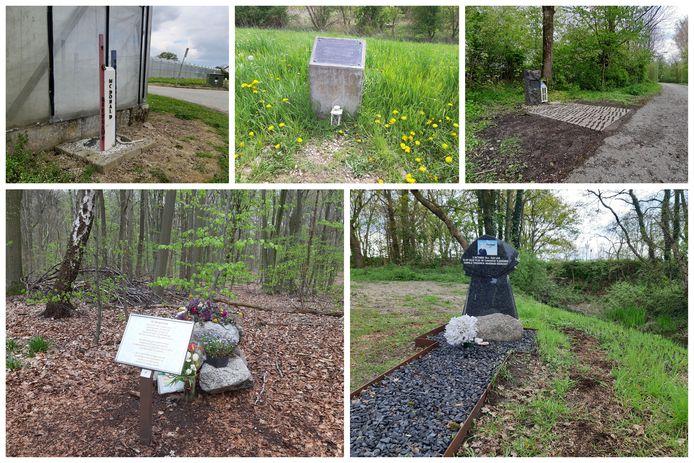 Kleine Monumenten voor oorlogsslachtoffers in Huissen, Ooij, Arnhem, Bennekom en De Klomp