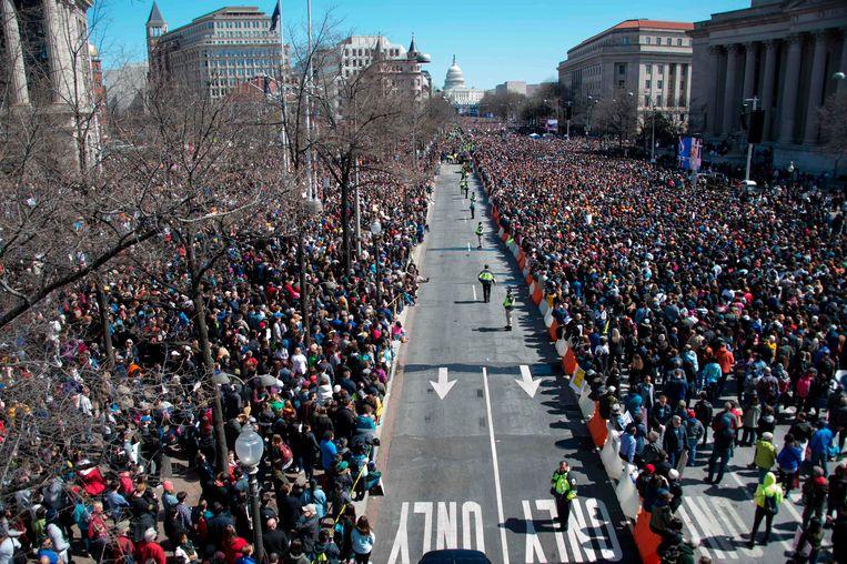 De March for Our Lives in Washington op 24 maart.  Beeld AFP