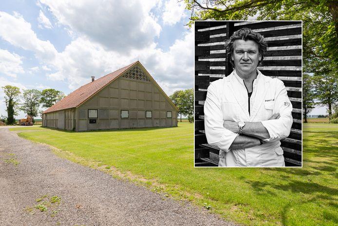 De oude schokbetonschuur die Peter Lute wil ombouwen tot zijn restaurant.