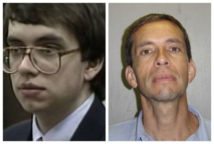 Jens Söring als prille twintiger tijdens zijn proces in 1990.  Rechts: de Duitser (53) op een foto die gevangenisinstanties deze week verspreidden