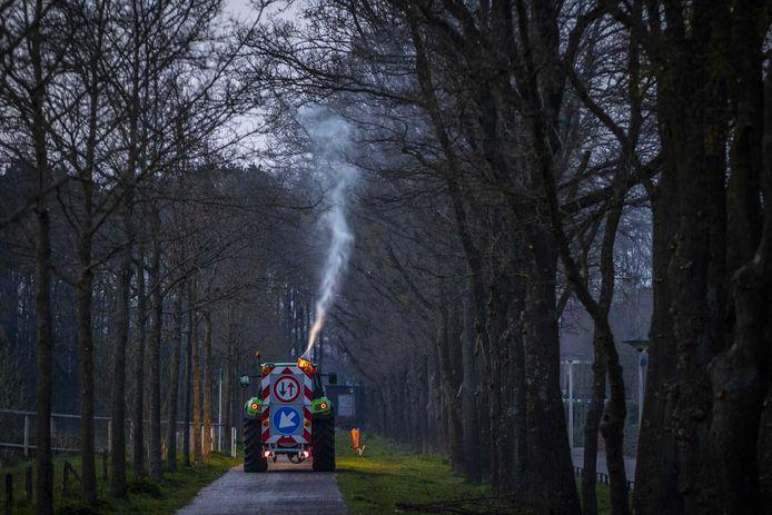 Een gespecialiseerd bedrijf spuit water met aaltjes in bomen om de eikenprocessierups te bestrijden.