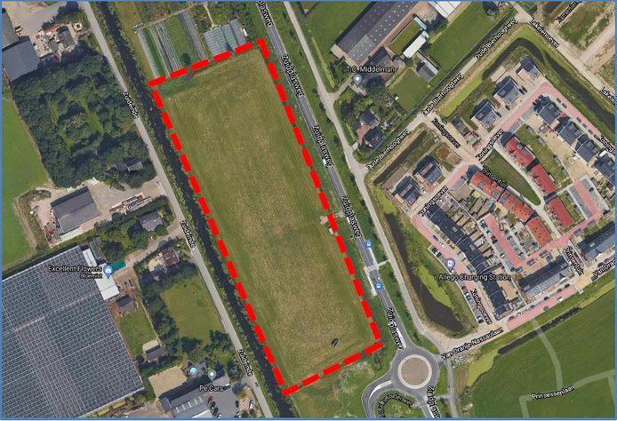 Luchtfoto locatie van de tiny houses in Zevenhuizen.