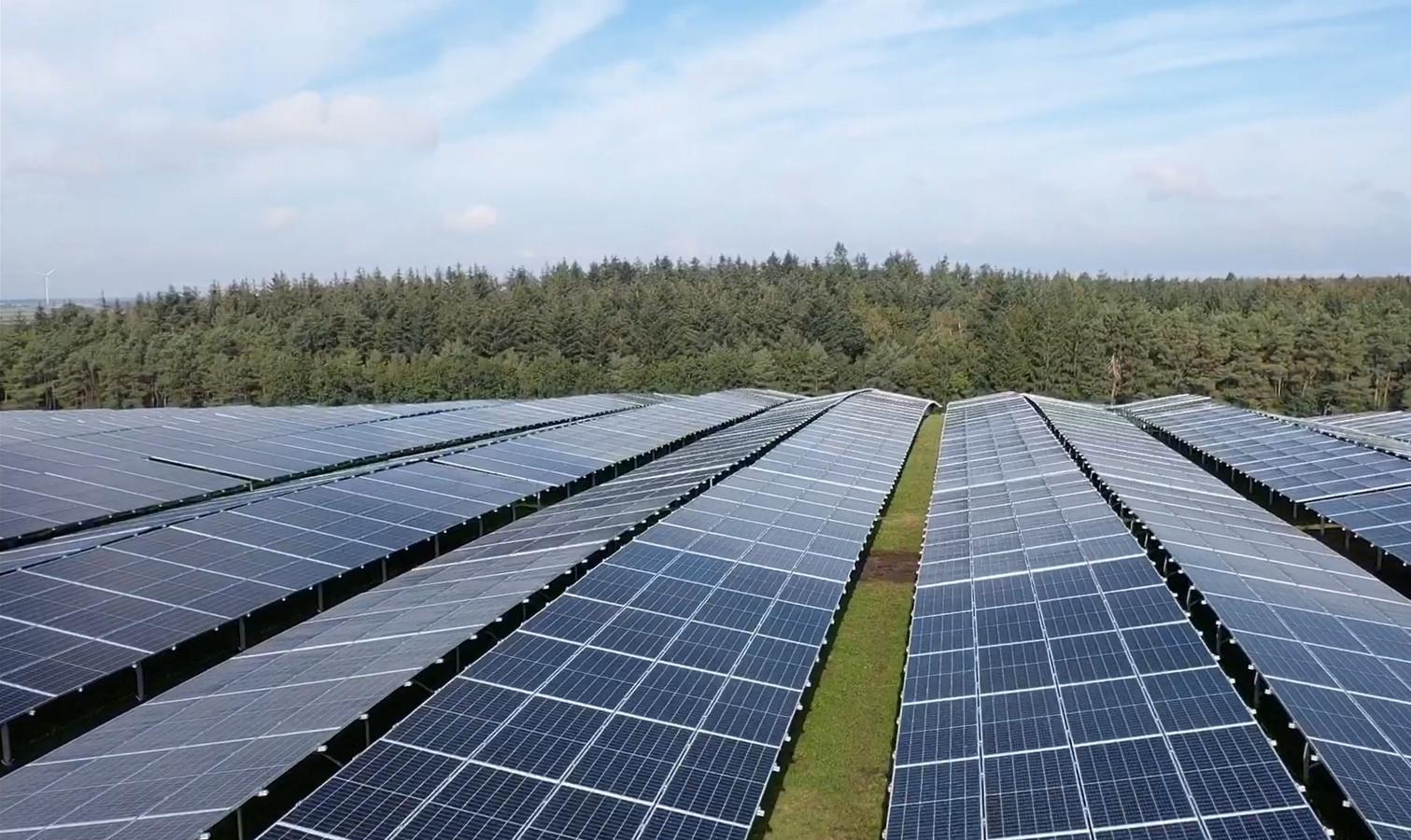 Voorbeeld van een zonnepark op landbouw- of natuurgrond.