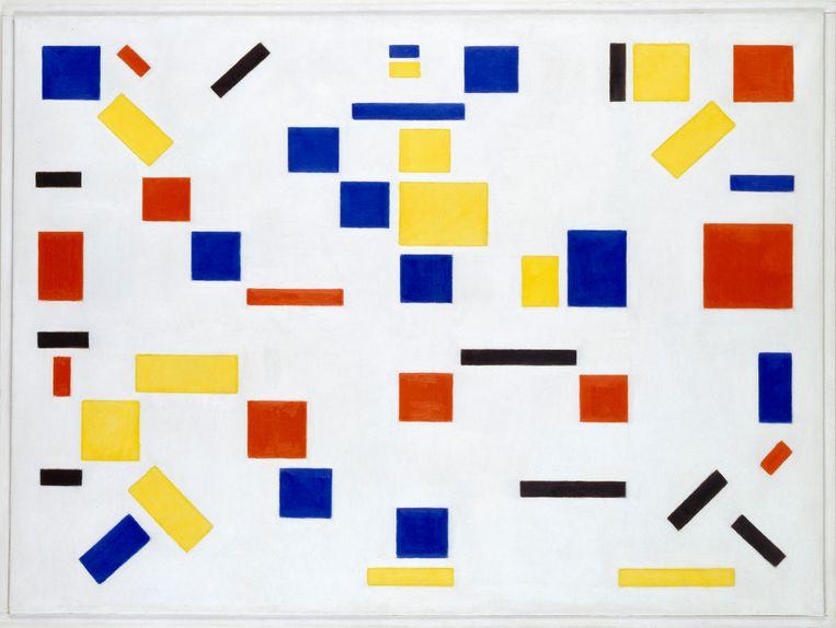 Het enige echt abstracte schilderij van Bart van der Leck, 'Compositie No.8', (1917), is te zien in het Gemeentemuseum Den Haag. Beeld Gemeentemuseum Den Haag
