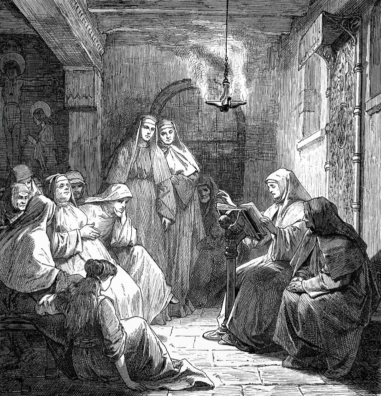 De uitvinding van de drukpers werd door de kerk bijna heilig verklaard: het woord Gods kon nu sneller worden verspreid.   Illustration from 19th century Beeld Getty Images