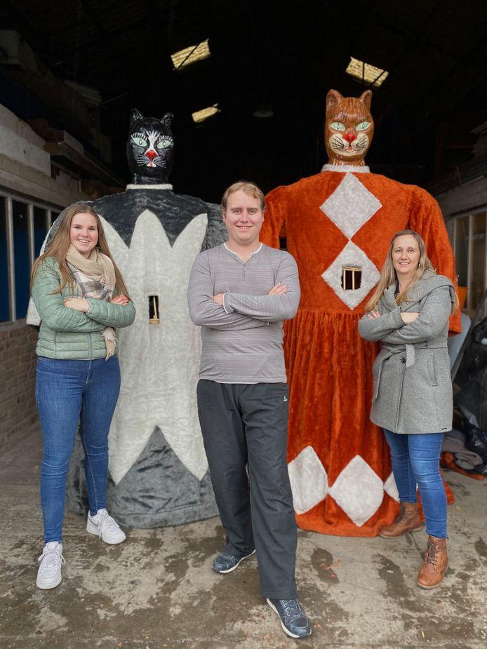 Jolien, Kevin en Deborah vormen samen de kern van het nieuwe feestcomité van De Katte.