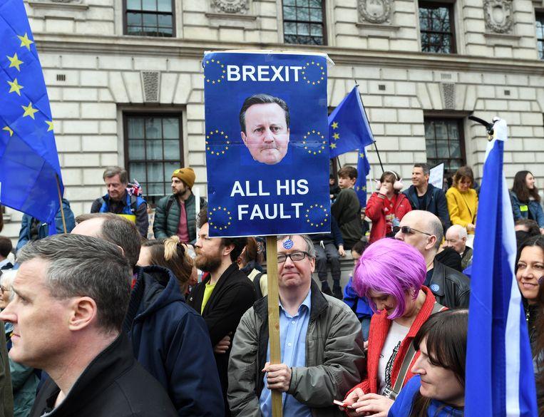 Een man voert protest in 2019 met een bord met het hoofd van David Cameron op. Beeld EPA