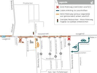 Kleine Molenweg vanaf maandag niet meer afgesloten van Dorpsstraat, Grote Molenweg is aan de beurt