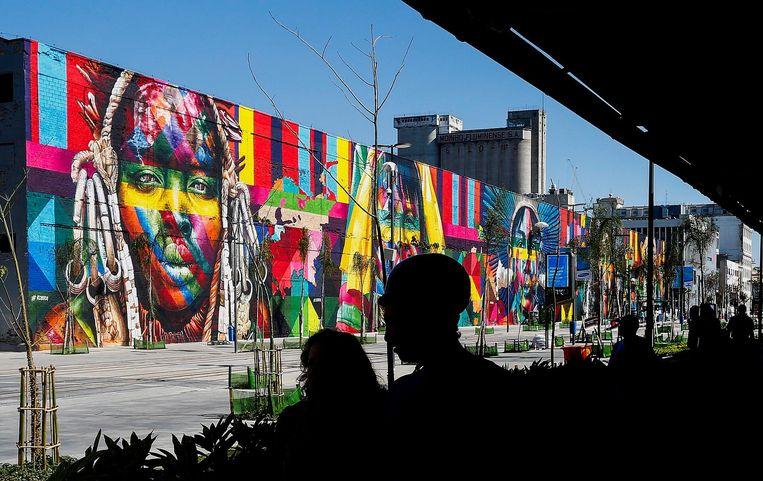 Het grootste graffitikunstwerk ter wereld, gemaakt door Kobra. Beeld anp