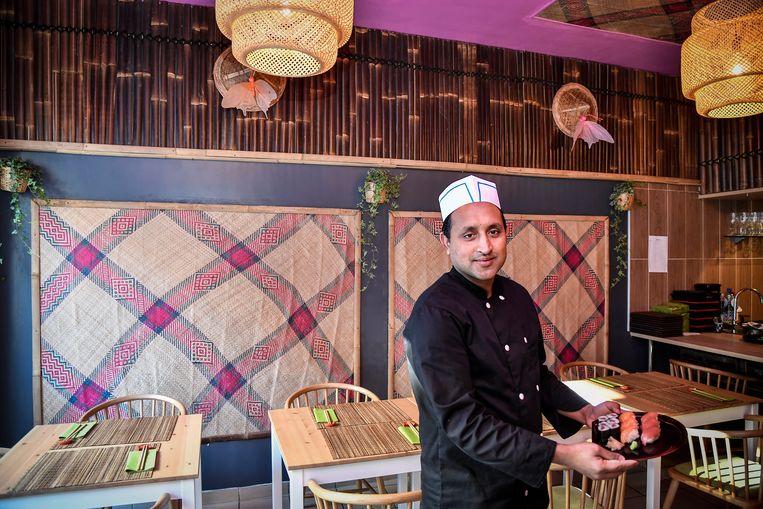 Chef Mohammad leerde de knepen van het vak in het gerenommeerde Japans restaurant  Tagawa in Brussel. Nu heeft hij zijn eigen restaurantje in Lebbeke.
