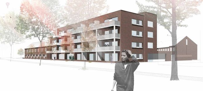 De nieuwbouw gezien vanaf de Carolusdreef, met rechts nog zichtbaar de woningen die aan de St. Antoniusstraat komen.