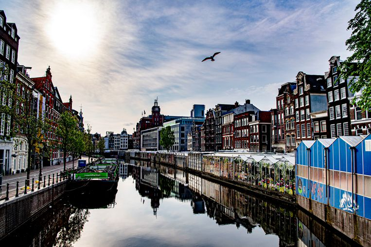 Uitgestorven grachten in Amsterdam. Beeld Getty