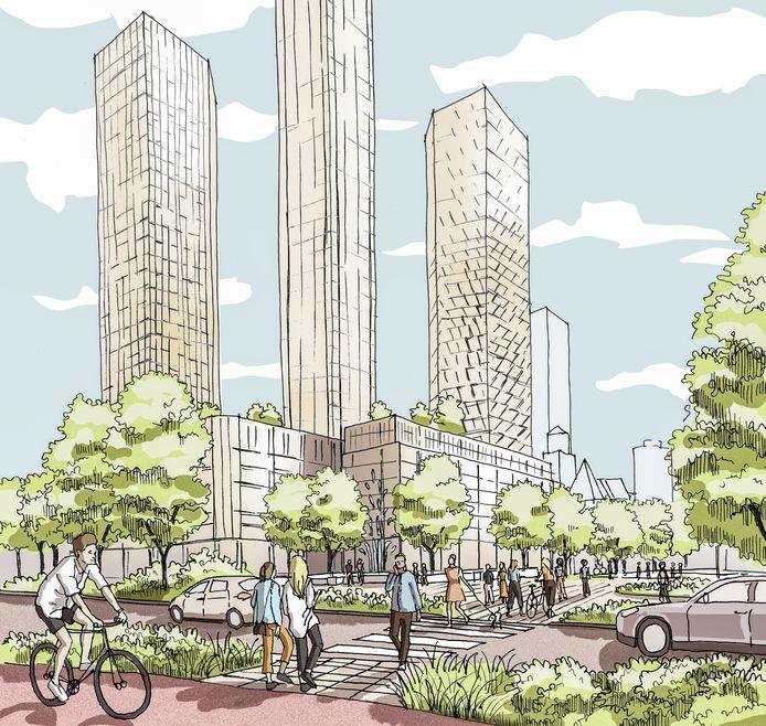 Zicht vanaf het Hofplein op de torens. De gemeente wil het bekendste plein van Rotterdam een groenere uitstraling geven.