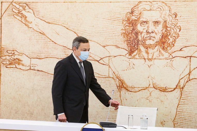 De Italiaanse premier Mario Draghi, dinsdag in Rome. Vorige week presenteerde hij een ambitieus Italiaans plan voor het Europese coronaherstelfonds.  Beeld EPA