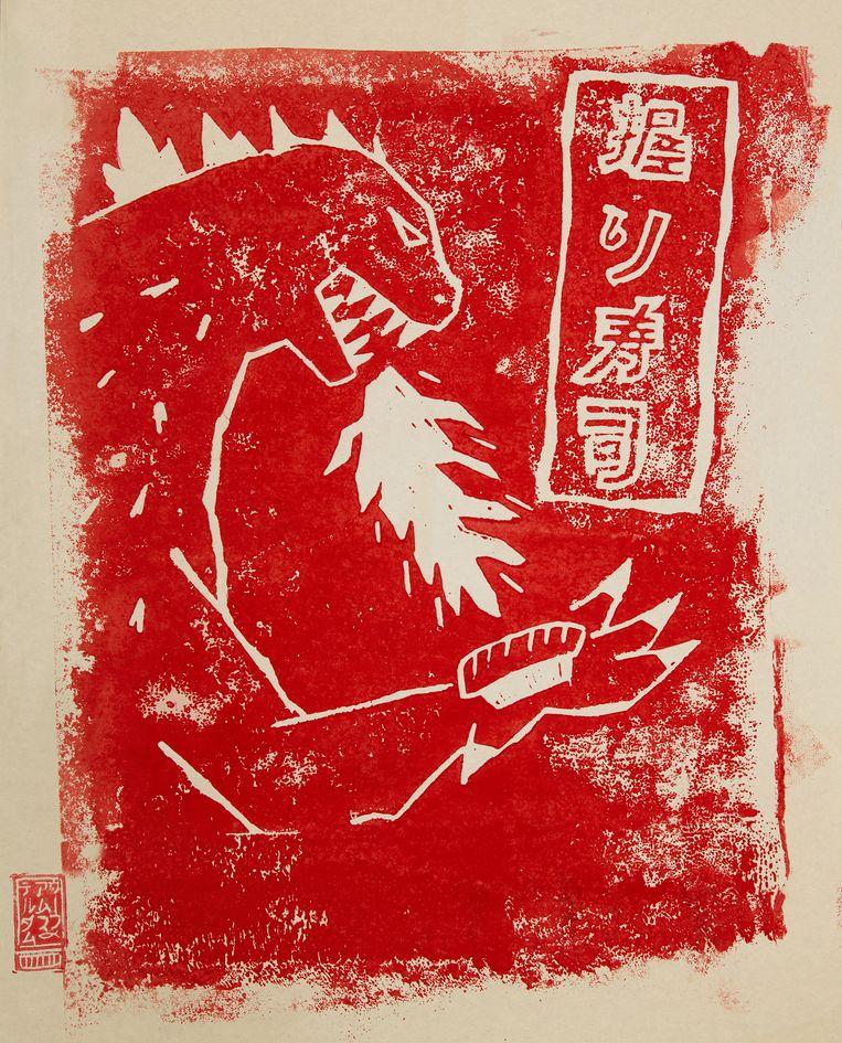 Linoprint van een walvis. Beeld Oof Verschuren