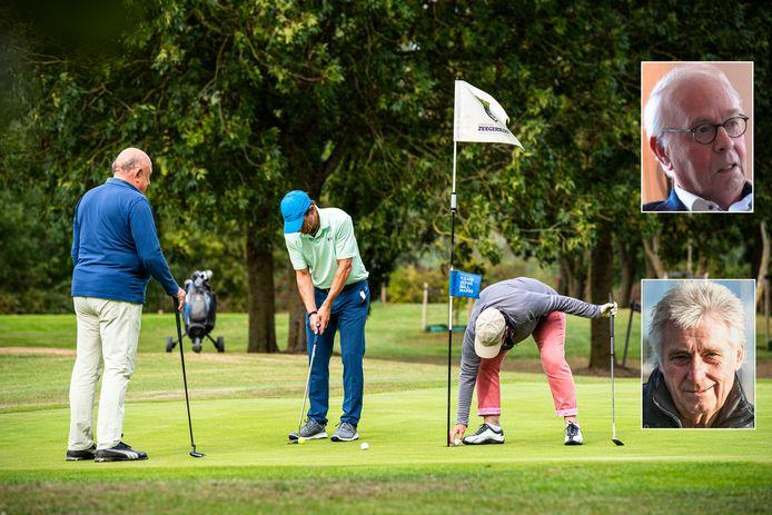 Golfers spelen een rondje op de Heuvelbaan van Golfclub Zeegersloot. Rechtsboven: voorzitter Jaap Molenaar. Rechtsonder:  Machiel van der Schoot.