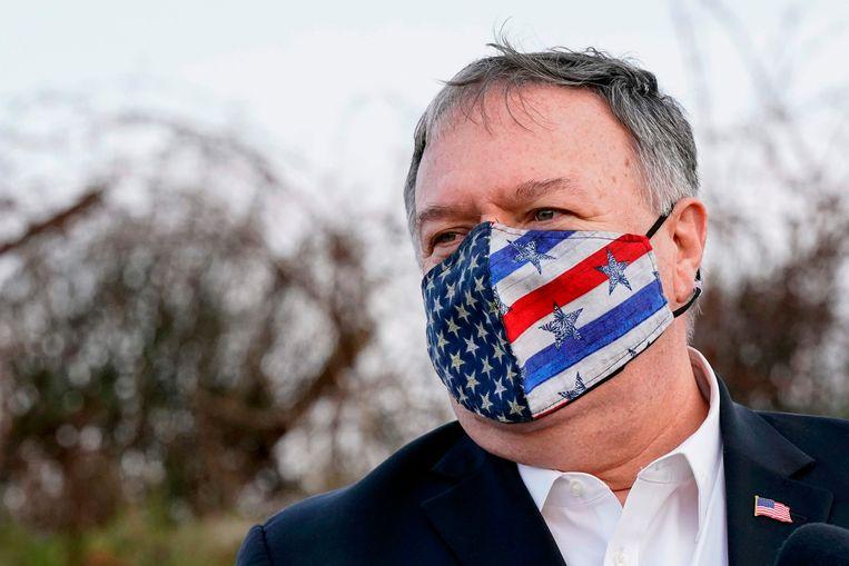 Mike Pompeo, de Amerikaanse minister van Buitenlandse Zaken, op de Golanhoogte.  Beeld AFP