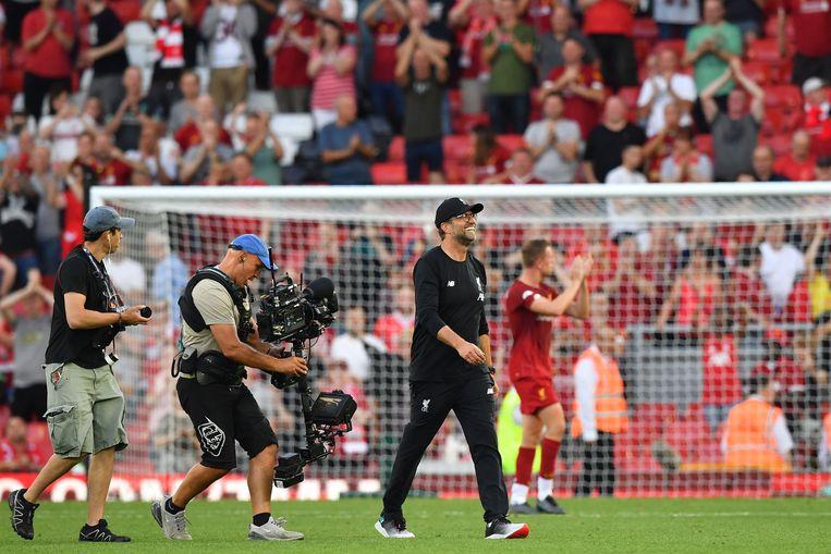 Liverpool-coach Jürgen Klopp is tegen de besloten topcompetitie zoals de EUFA die wil invoeren. Beeld AFP