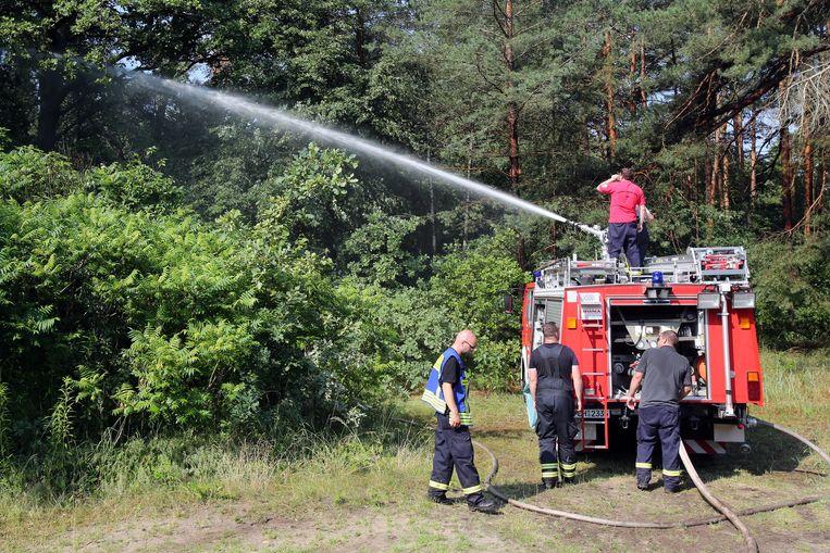 Brandweerlieden spuiten preventief een bos nat in de Duitse deelstaat Mecklenburg-Vorpommern.