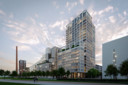 De toren Next (rechts) die aan de Philitelaan op Strijp-S in Eindhoven moet komen. Het ontwerp is van Crepain Binst Architecture, het project van Spoorzone BV. Links zijn ook de torens S1 en S2 te zien, ook van Spoorzone BV. Hiervoor wordt het terrein van voorheen Monk al bouwrijp gemaakt.