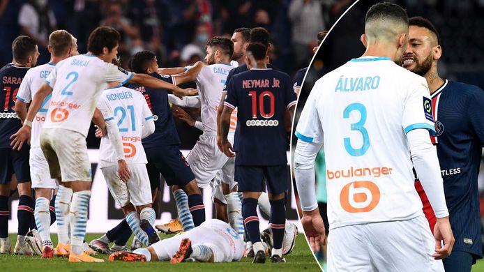 't Ging er heftig aan toe in het slot van de match: links duw- en trekwerk tussen enkele kemphanen, rechts een uitwisseling tussen Neymar en Álvaro.