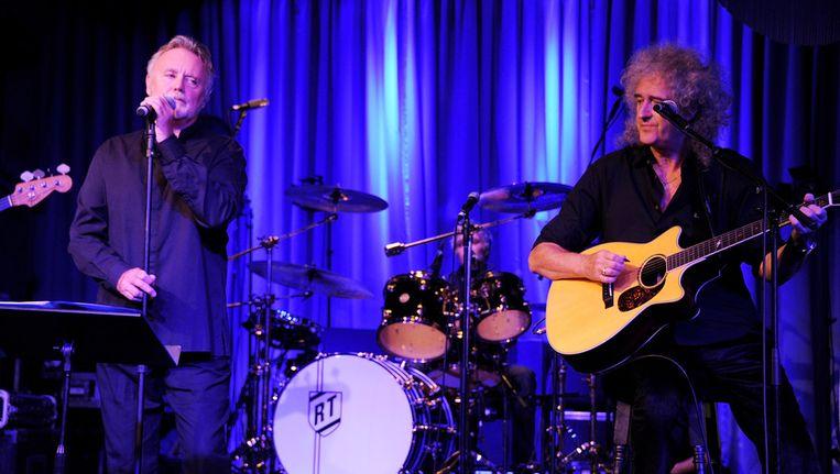 Roger Taylor (links) en Brian May op de 65ste verjaardag van Freddie Mercury begin deze maand. Beeld getty