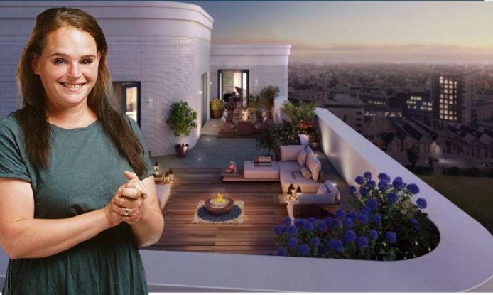 Het uitzicht vanaf het dakterras bovenop de woontoren.
