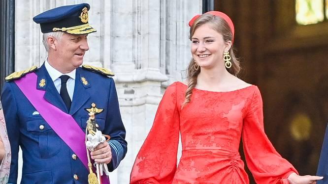 IN BEELD. Kroonprinses Elisabeth steelt alle aandacht in stralende rode jurk van Natan