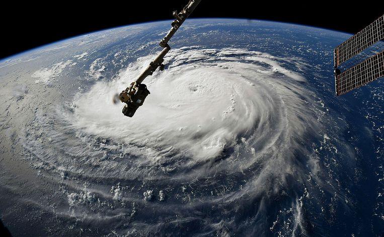 Orkaan Florence gezien vanuit het International Space Station op maandag 10 september. Beeld Photo News