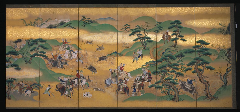 Kamerscherm met bladgoud. Nationaal Museum van Wereldculturen; Kano Moritsune (1829-1866); Japan; 1855-1856; papier; bladgoud; RV-4-27. Beeld Nationaal Museum van Wereldculturen