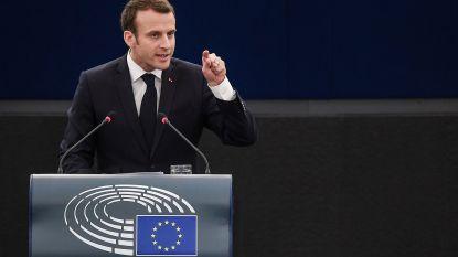 """Macron pleit voor hechter Europa en waarschuwt voor """"nationalistische burgeroorlog"""""""
