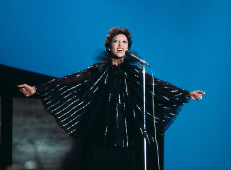 Sandra Reemer werd 9e op het Eurovisie Songfestival 1976 in Den Haag. Beeld anp