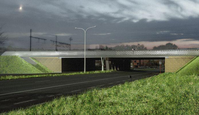 Een simulatie van de nieuwe fietsbrug over de Volhardingslaan.