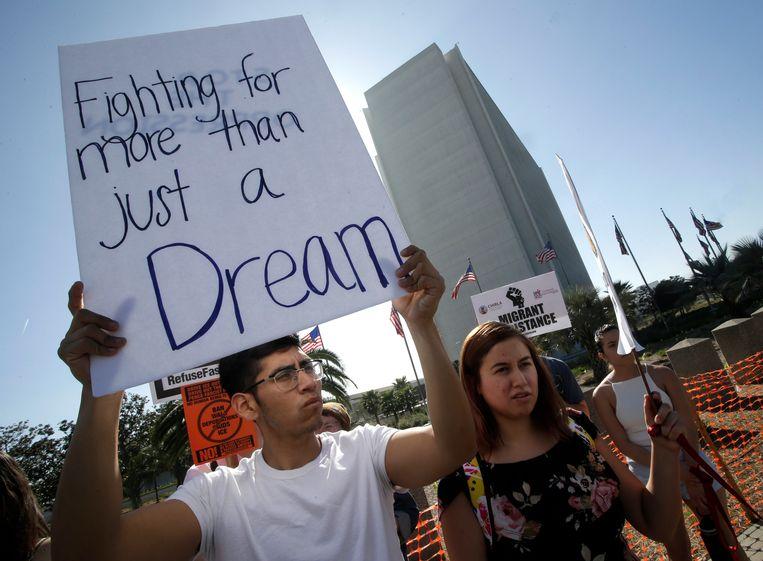 Een 'dreamer' tijdens een demonstratie. Archiefbeeld. Beeld EPA