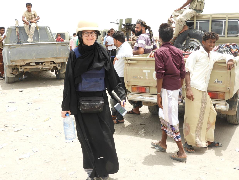 Volkskrant-journalist Ana van Es deed verslag vanaf de frontlinie in Jemen. Beeld