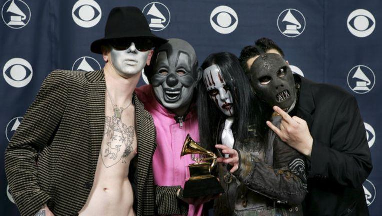 Slipknot tijdens de Grammy Awards in Los Angeles in 2006. Uiterst rechts Paul Gray. Foto AP Beeld