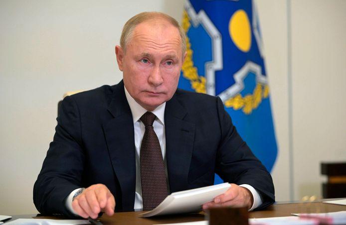 Poetin tijdens de videoconferentie van de Collectieve Veiligheidsverdragorganisatie, de Russische tegenhanger van de NAVO.