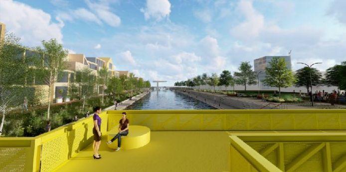 Zicht op de Vliet en de Vlietbrug vanaf de nieuwe voetgangersbrug.