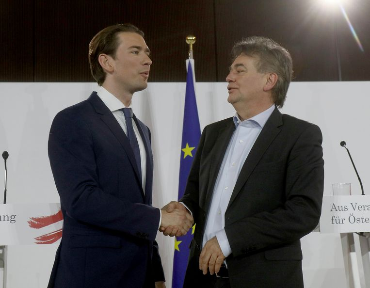 Sebastian Kurz, left, head of the Austrian People's Party, OEVP, shakes hands with Werner Kogler, right, head of the Austrian Greens after a press conference about the government program in Vienna, Austria, Thursday, Jan. 2, 2020. (AP Photo/Ronald Zak) Beeld AP